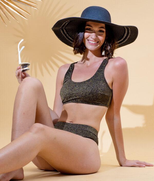 Maillot de bain menstruel 2 pièces Miami Black Shiny